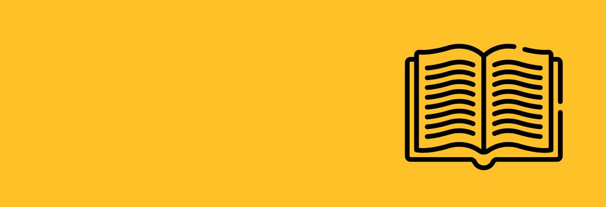 Zółty baner z ilustracją otwartej książki.