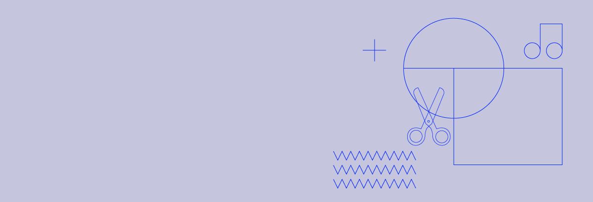 Grafika przedstawiająca figury geometryczne, nożyczki i nutkę.