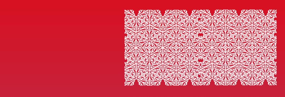 Tatarskie wzory na czerwonym tle