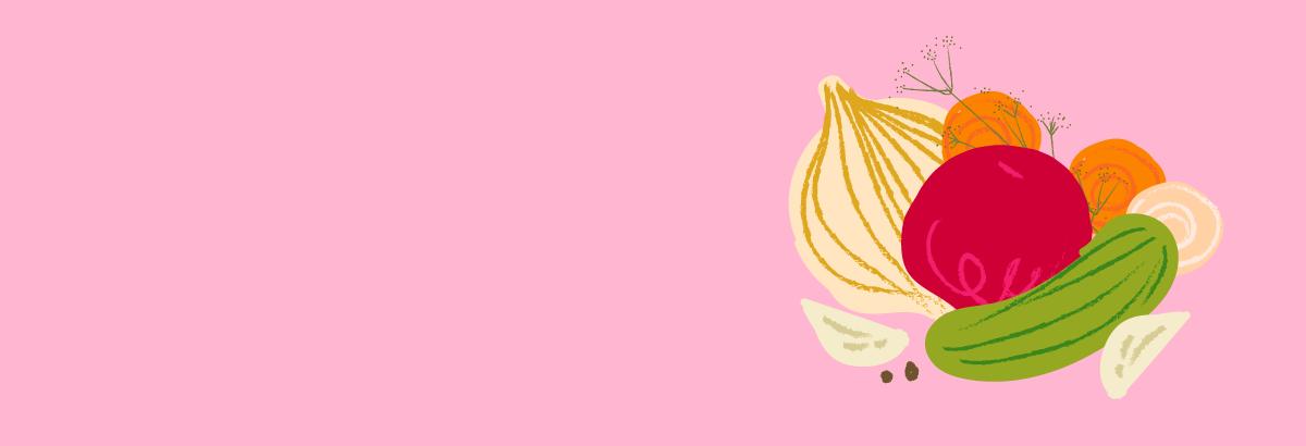 Grafika przedstawiająca warzywa na różowym tle